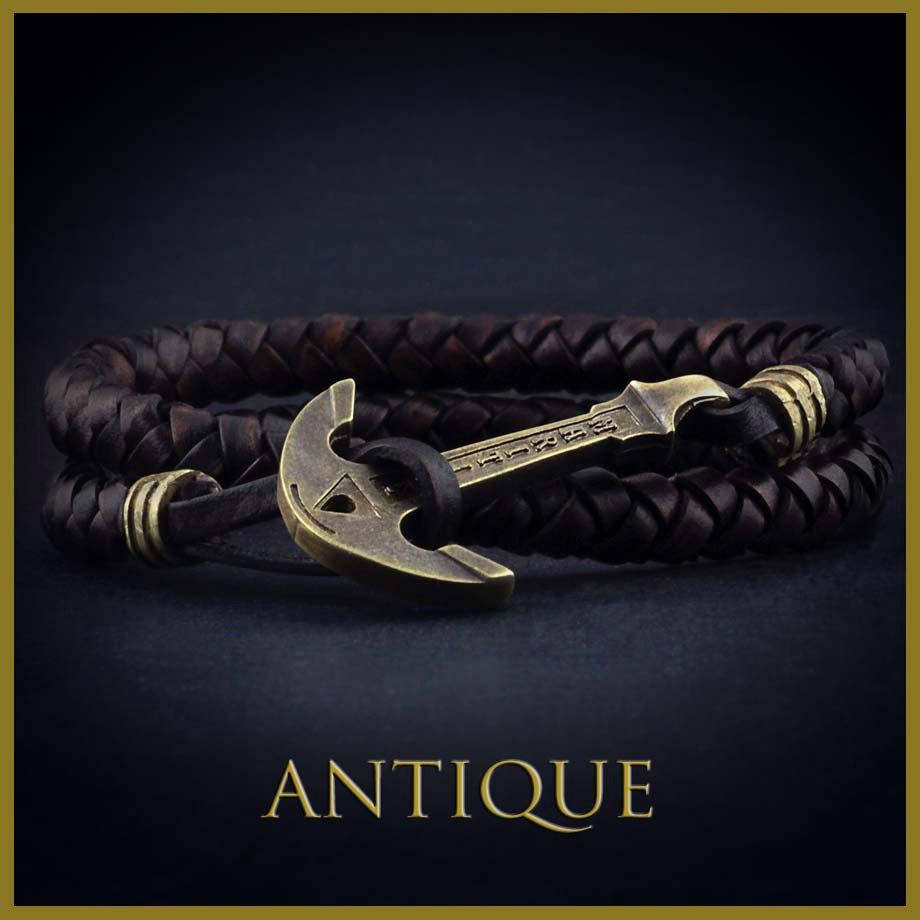 фото Коричневый кожаный браслет с якорем Antique 0ee6f7c074907