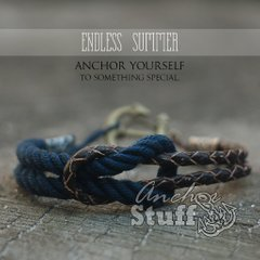 фото Браслет с якорем Anchor Stuff Endless Summer Navy/LeatherBrown